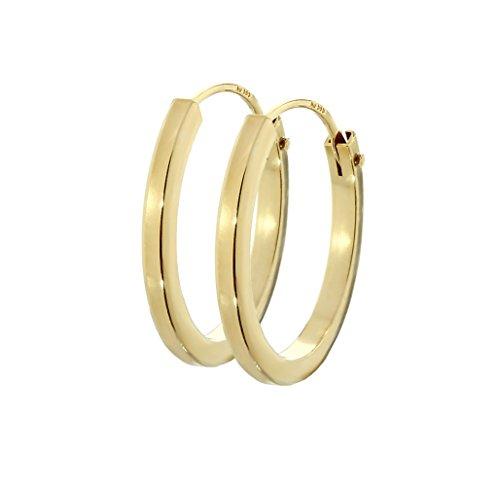 NKlaus Paar 585 Gold gelbgold Creolen Ohrringe Ohrschmuck Quadratisch 12mm Stärke 1,5mm 2573