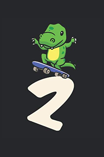 Patineta Patinaje Dinosaurio 2: Dinosaurio 2do cumpleaños patineta niños regalos cuaderno forrado (formato A5, 15,24 x 22,86 cm, 120 páginas)