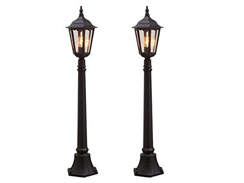 Set van 2 zwarte weglampen FIRENZE, E27, aluminium, incl. paal en fundering; KONSTSMIDE 7215-750