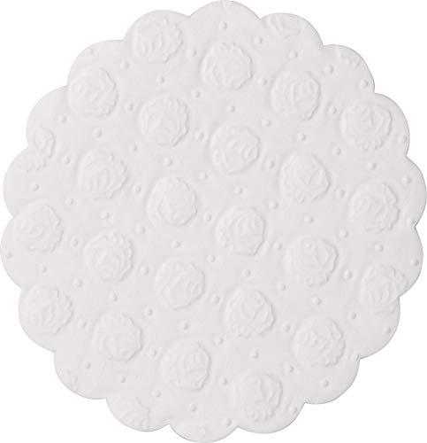Demmler - Set di 500 sottobicchieri in filigrana di carta assorbente rotondi, in rilievo, colore: Bianco