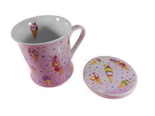 MUG Softeis GG 9535 A - Juego de 2 tazas y posavasos de porcelana con diseño de helado