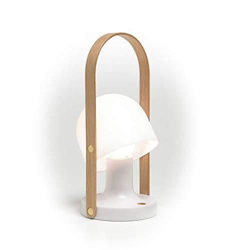 Lámpara de sobremesa portátil y Recargable LED 3,2W con Pantalla de policarbonato, Modelo Follow me, Color Blanco, 12,3 x 12,3 x 28 centímetros (Referencia: A657-001)