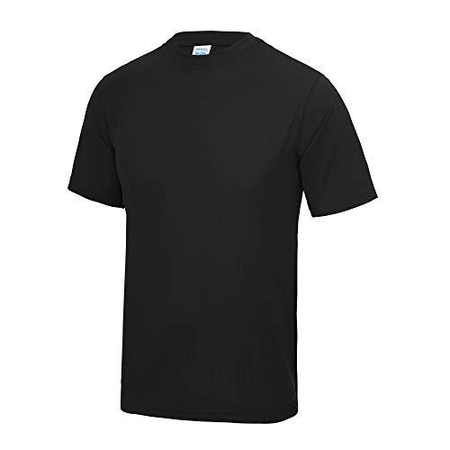 Just Cool - Camiseta lisa para hombre, Primavera-Verano, envolvente, Liso, Manga Corta, Hombre, color negro azabache, tamaño XXXXXL