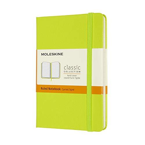 Moleskine - Cuaderno Clásico con Hojas de Rayas, Tapa Dura y Cierre con Goma Elástica, Tamaño de Bolsillo 9 x 14 cm, Color Verde Limón, 192 páginas