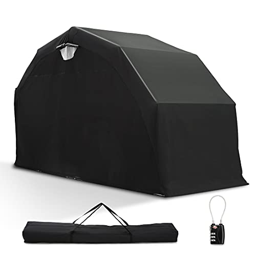"""Quictent 136"""" x 54"""" Motorcycle Storage Heavy Duty Motorcycle Shelter Shed Cover Garage Tent with TSA Code Lock & Carry Bag"""