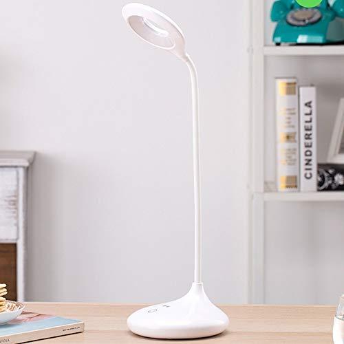 Lámpara LED de mesa con anillo, para escritorio, con clip táctil, con lupa y cuello de cisne