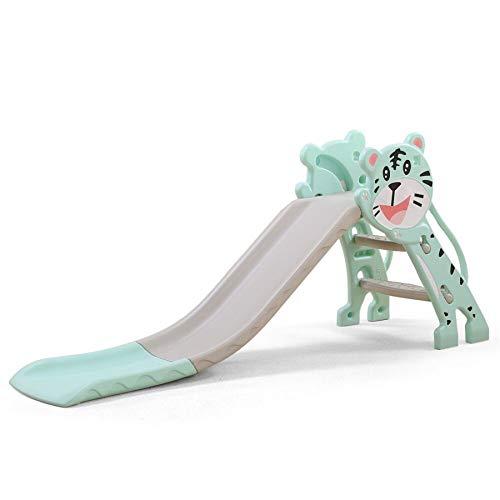 Kinder Rutsche Tiger fürs Kinderzimmer Spielplatz Garten Bockrutsche klappbar mit rutschfesten Stufen (grau / Mint)