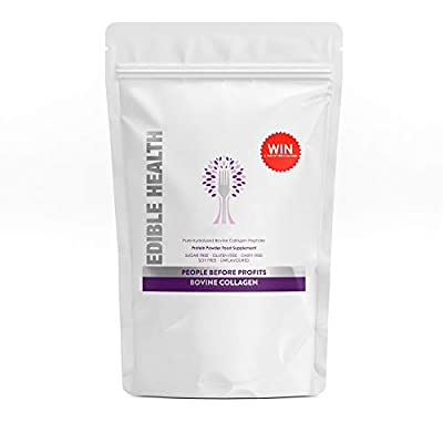 Edible Health Premium Bovine Collagen Powder. Pure Hydrolysed Protein Peptides with 18 Amino Acids. Paleo, Keto, Kosher, Halal. 13,000mg dose, 1kg Eco Bulk Bag, Lasts 2-3 Months