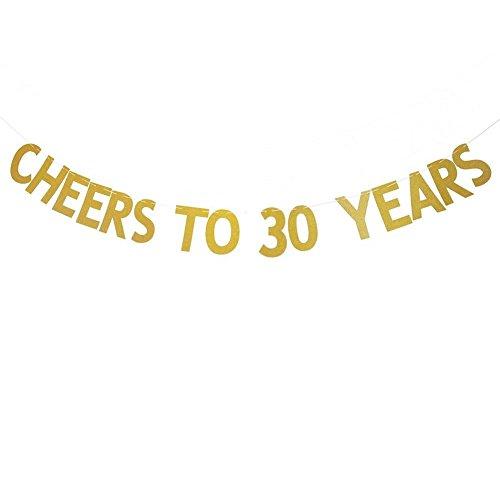 Veewon Salutations à 30 ans Banner Gold Glitter Letters Garages de Bunting 30ème Anniversaire Anniversaire Party Photo Prop Decor