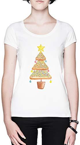 Pan de Molde Navidad Árbol Blanca Mujer Camiseta Tamaño XXL White Women's...