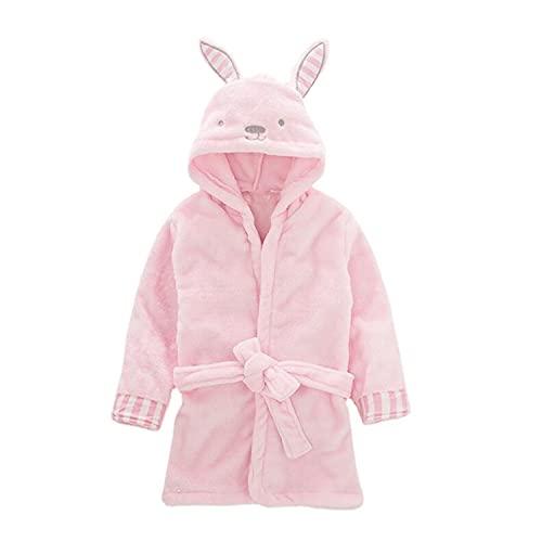 Verve Jelly Batas con capucha para bebés pequeños Albornoz para niñas y niños Bata de ducha de franela Unisex Bata para niños Pijamas Ropa de dormir Rosa 90 12-18 meses