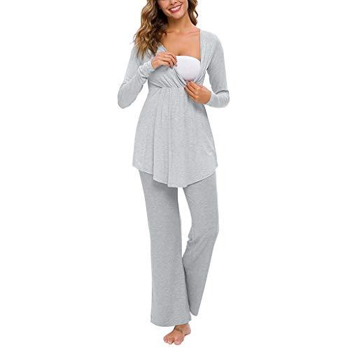 STRIR 2 Piezas Pijama de Lactancia Invierno Ropa Premamá Lactancia Otoño Invierno Ropa Maternidad Hospital Pijama Embarazada Manga Larga Algodon Top y Pantalones Conjuntos (L, Gris)
