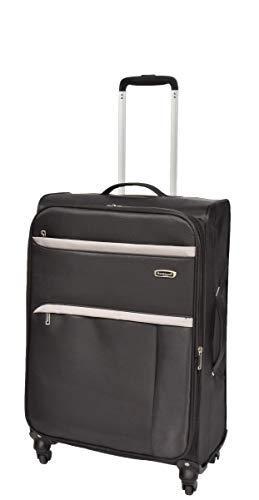 Medium Check-in Size Lightweight Soft Nylon Suitcase Expandable Luggage Travel Bag HLG1150 Black