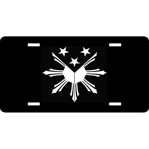 URCustomPro Filipino Sun Stars Philippine Flag Premium Aluminum Metal License Plate Cover for US Vehicles, Humor Funny Car Tag Decoration for Women/Men, 12 x 6 Inch