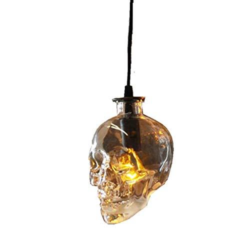 Lámpara de araña colgante Lámparas de araña Cordón ajustable de cristal cabeza del hueso de la lámpara de techo de luz Personalidad restaurante Decoración colgante de la lámpara E14 retro vintage de l