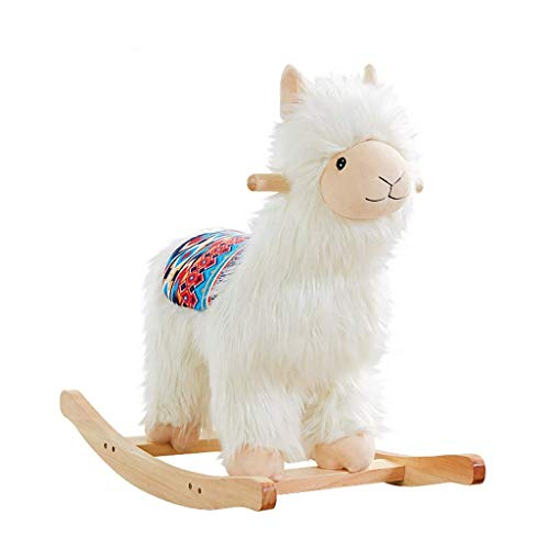 YUEZPKF Schön Schaukelstuhl Kind Holz Rocker, Fahrt auf Spielzeug für 16 Jahre alt, Schaukeln Tier Kind, Weiße Alpaka Rocking Horse für Mädchen/I