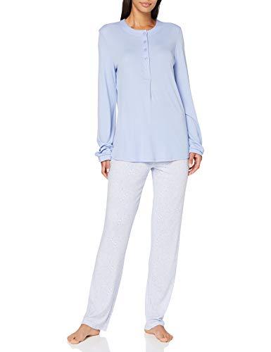 Schiesser Damen Anzug lang Pyjamaset, hellblau, 42