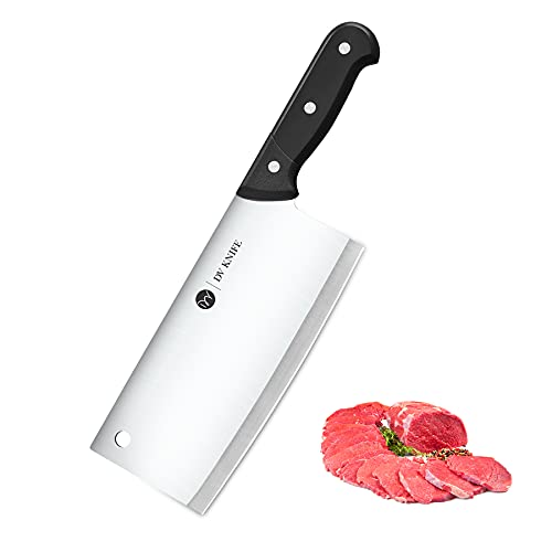 Cleaver Knife - 7 Inches Meat Cleaver, Chopper Butcher Stainless Steel Chinese Cleaver Knife, Full-tang Blade with Ergonomic Handle
