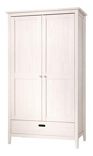 Wellemöbel, Lumio, Kleiderschrank 2-türig, 1 Schubkasten 77570523, Kiefer massiv weiß