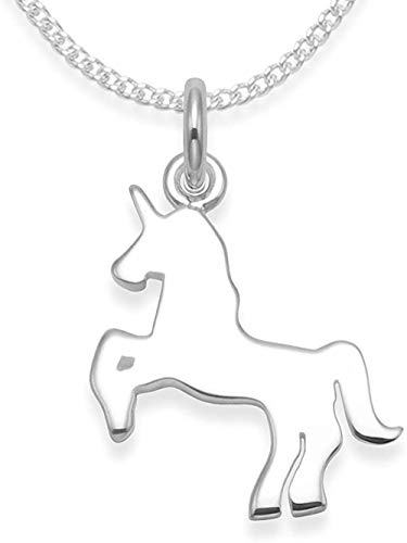 MNMXW Heather Needham Silver: Solid Sterling Silver Unicorn Necklace on 16 sterling Silver chain - SIZE: 14mm x 12mm. 4932/16