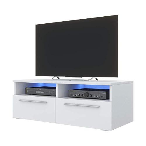 Selsey Siena - TV Lowboard / TV-Schrank Weiß Matt / Weiß Hochglanz, mit Blauer LED - Beleuchtung, 100 cm