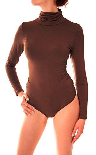 Easy Young Fashion Damen Langarm Body Suit Langarmshirt Unterwäsche mit Rundhals Ausschnitt (One Size, Rollkragen Dunkelbraun)