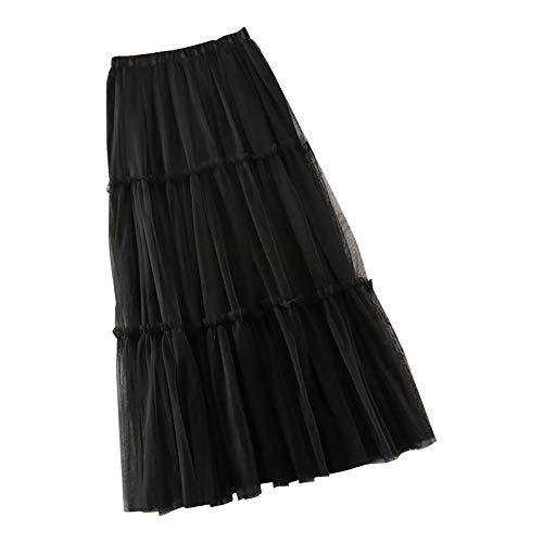 WAo Falda midi de malla lisa para mujer, elegante falda elástica de tul de cintura alta, suelta en capas A, falda larga