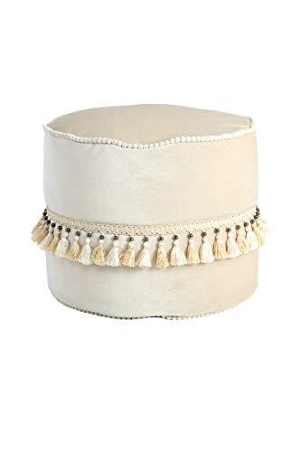 One Couture Hocker Orientalisch Pouf Marroko Samt Mit Quasten Bommel Creme Beige 45Cm Ø, (L) (B) x 38cm (H)