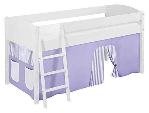 Lilokids Spielbett IDA 4106 Lila Beige-Teilbares Systemhochbett weiß-mit Vorhang Kinderbett, Holz, 208 x 98 x 113 cm