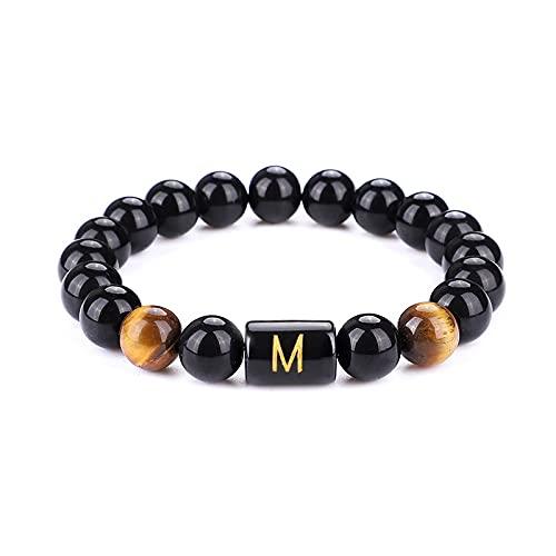Pulsera de iniciales UEUC para hombres y mujeres, 26 letras, enlace negro, ónix ojo de tigre, 35 mm, perlas de piedra, pulsera ajustable, Piedra,