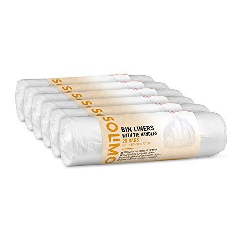 Marque Amazon - Solimo Sacs poubelle à poignées - 50 litres - 6 x 20 sacs