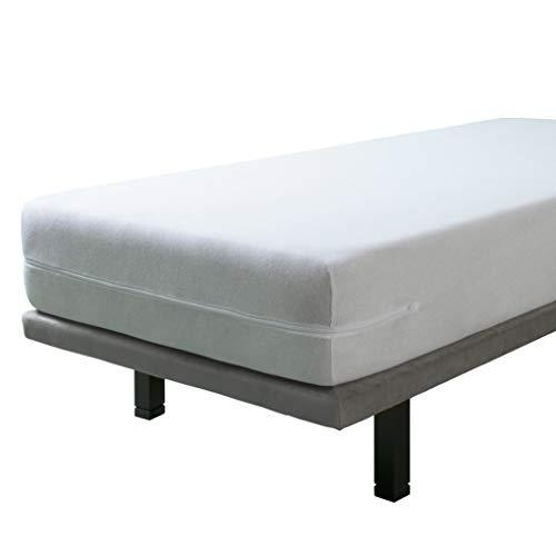 SAVEL - Funda de colchón elástica de Algodón | 80x190/200cm | Protector de colchón con Cremallera. Tejido de Rizo 100% Algodon Muy Absorbente y Ajustable (Cama 80cm) Funda Protectora Color Blanco