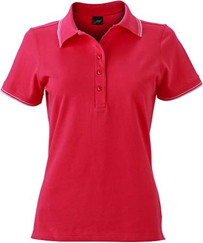 James & Nicholson Damen Ladies´Polo Poloshirt, Rosa (Pink/White), 38 (Herstellergröße: L)