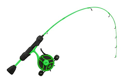 "13 FISHING - Radioactive Pickle Ice Combo - 27"" L (Light) - FF Ghost + Tickle Stick (Locking Reel Seat - Left Hand Retrieve - RP2-27L-LH"