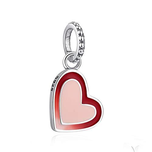 LILIANG Charm Jewelry Auténtica Plata De Ley 925 Colgante Charm Forever Love Red Enamel Heart Beads Fit Original Charm Bracelet DIY Jewelry