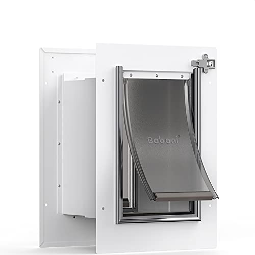 Baboni Pet Door for Wall, Steel Frame and Telescoping Tunnel, Aluminum Lock, Double Flap Dog Door and Cat Door, Strong and Durable (Pets Up to 15 Lb) -Small