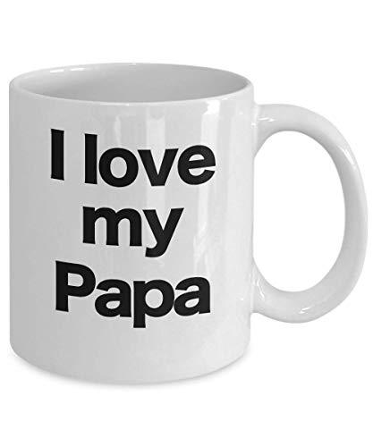 Taza de café blanca con texto en inglés 'I Love My Papa Best Big Shark Grandpa Bear Pitufo San Valentín Cumpleaños