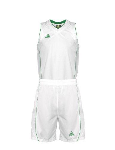 Peak Sport Europe Basketball Team Uniform Set Trikot und Shorts, White/Green, XXS