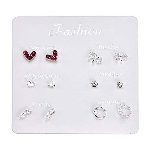 ZYJ Juego de aretes de Perlas simuladas de Cristal Accesorios de joyería para Mujer Juego de aretes de Bola de Piercing Juego de aretes Aretes,S