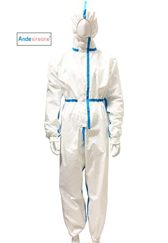 Duobang Disposable Protective Coveralls with Elastic Wrists, Ankles and Hood, Non-Porous Anti-Dust Ventilation clothing (Medium)