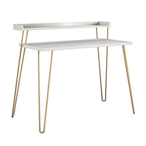Ameriwood Home Haven Retro Riser, Desk, White with Gold Legs
