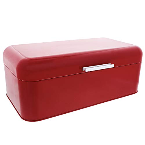 Large Red Bread Box - For Kitchen Counter Storage - Bread Bin for Loaves, Bagels, Chips, More: 16.5' x 8.9' x 6.5' | Bonus Recipe EBook