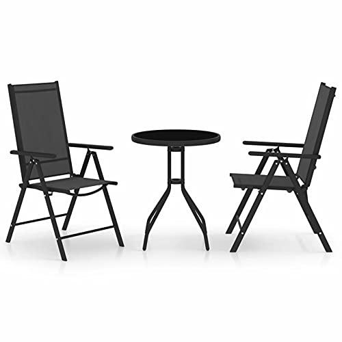 Tidyard 3-TLG. Bistro-Set Bar-Set Garten-sitzgruppe mit 2 verstellbare Gartenstühle (7 Positionen) & 1 Gartentisch Bistrotisch Armlehnenstuhl Aluminium und Textilene Schwarz