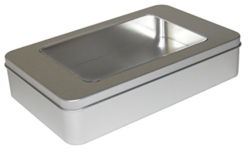 mikken - 1 x Vorratsdose mit Sichtfenster, eckige Metalldose aus Weissblech mit Stülp-Deckel (Farbe: Silber), ideal als Gebäck-, Keks- und Tabakdose verwendbar (20,8 x 13,1 x 4,5 cm)