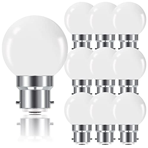 ProCrus B22 Lampadine LED a Baionetta 1W,Lampadina Mini Globo B22 G45,Bianco Caldo 2700K,80LM,Corrisponde a Lampadine 10W, Non Dimmerabile,Pacco da 10