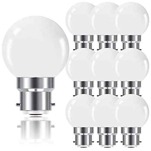 ProCrus Ampoule LED B22 1W,Ampoule à Baïonnette Mini Globe Golfball B22 G45,Blanc Chaud 2700K,80LM 1W Équivalent Incandescence 10W,Non Dimmable,Lot de 10