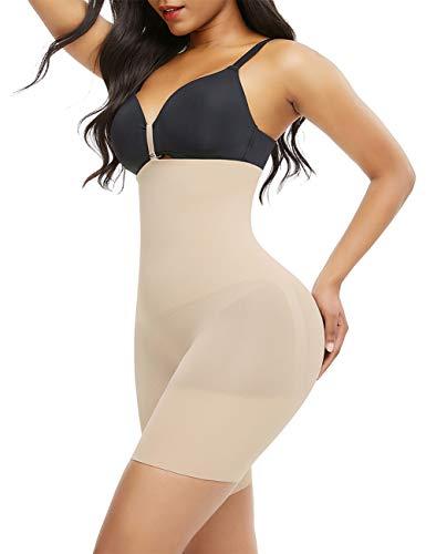 FeelinGirl Damen Shapewear Figurenformend Bauch Weg Effekt Miederhose Unterhose Formt Sorft Body Shaper mit Bein Hohe Taille Miederslip Panty Atmungsaktive Nahtlos,Beige 51,42-44 (2XL/3XL)