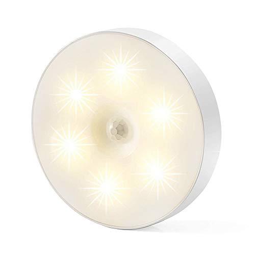 Husmeu LED Nachtlicht Nachttischlampe Wireless mit Bewegungsmelder, USB aufgeladen, 3 Einstellbares Warmes Licht, Schlummerlicht Einschlafhilfe Nachtlampe für Treppe, Kinder/Schlafzimmer, Küche, Flur