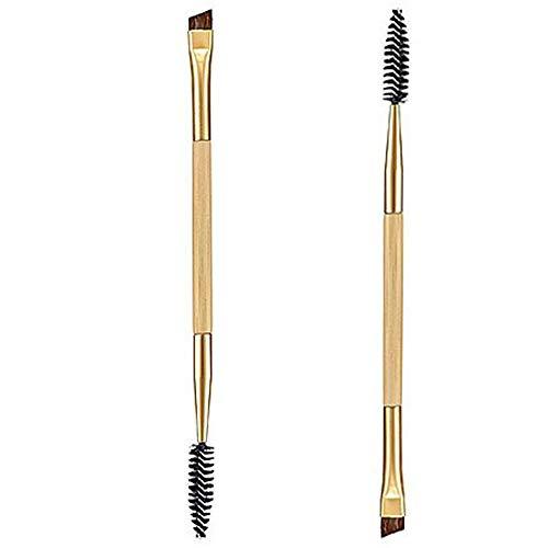 MEIYY Pinceau De Maquillage Gros 1Pcs Outils De Maquillage Poignée En Bambou Double Brosse À Sourcils + Peigne À Sourcils Et Brosse De Maquillage