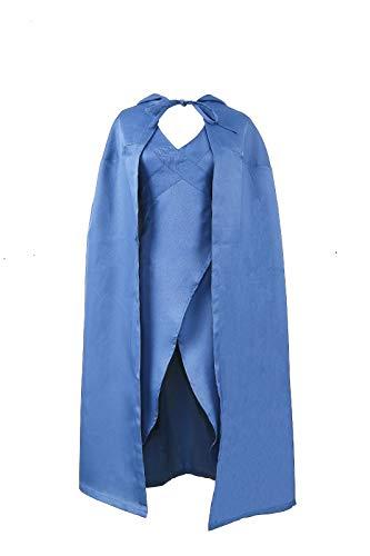 Game of Thrones Daenerys Targaryen Dragon Queen Costume Halloween Dress&Cloak (Small) Blue